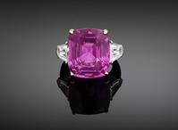 At $1,250,000, this extremely rare, 27.42 carat Ceylon intense pink sapphire is dazzling.
