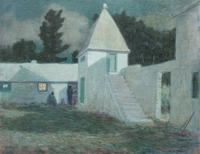 Clark Greenwood Voorhees, Springfield Courtyard by Moonlight.  Oil on canvas, 28 x 36 inches.