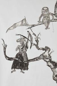 Kara Walker, U.S.A.  Idioms (detail), 2017.  Collage of Sumi ink and graphite on cut newspaper on gessoed white wove paper.  Harvard Art Museums/Fogg Museum, Margaret Fisher Fund, 2017.220.  © Kara Walker; image courtesy of Sikkema Jenkins & Co., New York.