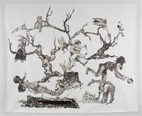 Kara Walker, U.S.A.  Idioms, 2017.  Collage of Sumi ink and graphite on cut newspaper on gessoed white wove paper.  355.9 x 448.6 cm (140 1/8 x 176 5/8 in).  Harvard Art Museums/Fogg Museum, Margaret Fisher Fund, 2017.220.  © Kara Walker; image courtesy of Sikkema Jenkins & Co., New York.