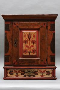 Hanging Cupboard Berks or Lebanon County, PA, c.  1780, Ex.  Robert Burkhart, Ex: Col.  Richard and JoAnne Smith, 27 x 11 x 24 ,Cigar Store Indian.  Outsider Folk Art Gallery, Reading, PA.