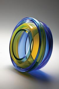 John Kiley, Double Concentric, 2011, blown, carved, and polished glass, 11 x 10.5 x 6.5.  photo: Jeff Curtis.  Traver Gallery, Seattle, WA.
