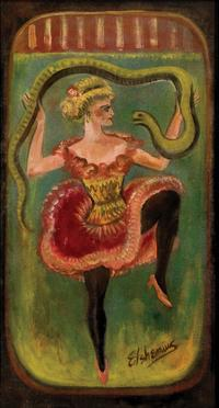 Louis Michel Eilshemius, Snake Dancer, c.  1916-1922, oil on canvas, 31.5 x 17 inches.  Ricco Maresca Gallery, New York, NY.