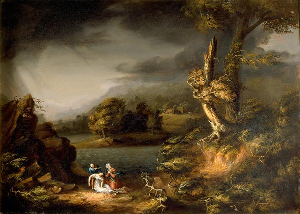 """The Tempest,"" by Thomas Cole (American, 19th Century), ca.  1826.  Oil on panel, 18 3/4 x 26 inches.  Purchase with bequest of Clarissa Hale Poteat.  Object number: 1987.100.  Courtesy of High Museum of Art."