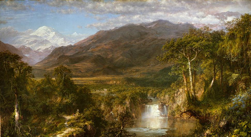 The Heart of the Andes, 1859, by Frederic Edwin Church (American, 1826–1900).  Oil on canvas, 66 1/8 x 119 1/4 in.  (168 x 302.9 cm).  Bequest of Margaret E.  Dows, 1909 (09.95).  Metropolitan Museum of Art.