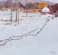 "Dinah Worman, ""Winter's Late Light,"" Oil on Canvas, 30 x 30 in"