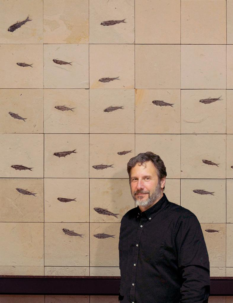 Douglas Miller Stands In Front Of A Wall Mural Composed Fish Fossils