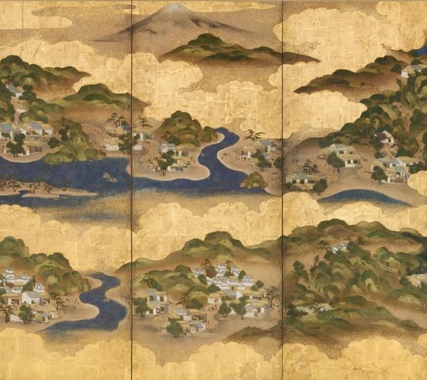 Artist unknown, Places Along the Tokaido.  Pair of six-panel screens; ink, mineral colors, gofun, and gold on paper with gold leaf; Edo period, circa 1800; H.  66¾ x W.  146½ in.  each (169.5 x 372.1 cm).
