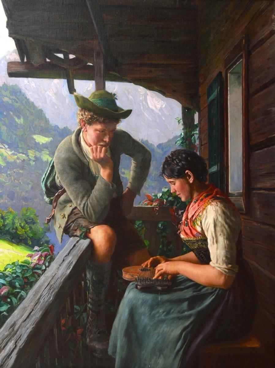 Original Oil Painting By Emil Rau Germ 1858 1937 Will