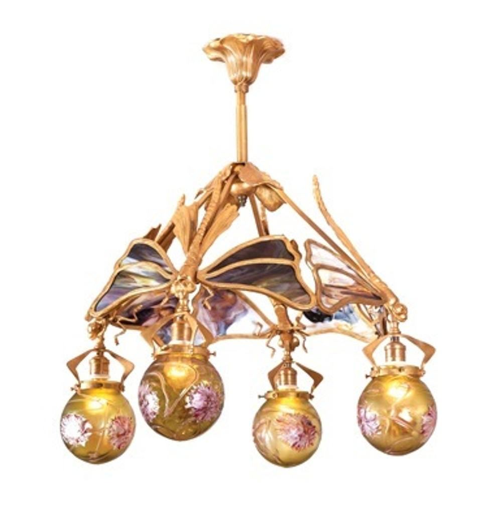 Lot 74 An Art Nouveau Slag Glass And Gilt Bronze Chandelier Sold For 27 500