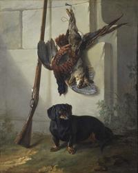 Jean-Baptiste Oudry (French, 1686–1755), The Dachshund Pehr with Dead Game and Rifle, 1740, oil on canvas.  Nationalmuseum, Stockholm.