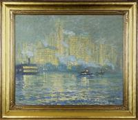 Luminous and impressionist rendering of New York City by Norwegian-born artist Jonas Lie.