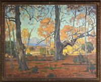 Original oil painting by William Wendt (Calif./Ill., 1865-1946), titled Patriarchs of the Grove.
