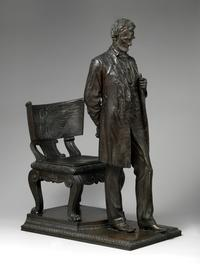 Augustus Saint-Gaudens (American, Dublin 1848–1907 Cornish, New Hampshire) Abraham Lincoln: The Man (Standing Lincoln), 1884-1887; reduced 1910; this cast 1911 Bronze 40 1/2 x 16 1/2 x 30 1/4 in.  (102.9 x 41.9 x 76.8 cm) .The Metropolitan Museum of Art, Purchase, Tyson Family Gift, in memory of Edouard and Ellen Muller; The Beatrice G.  Warren and Leila W.  Redstone, and Maria DeWitt Jesup Funds; Dorothy and Imre Cholnoky, David Schwartz Foundation Inc., Joanne and Warren Josephy, Annette de la