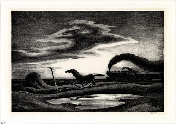 Thomas Hart Benton (1889-1975) The Race, 1942, lithograph, 23.8 x 34.5 cm.  The American Museum in Britain.