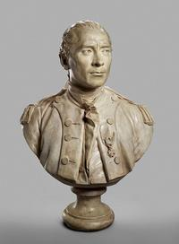 "Jean-Antoine Houdon, Portrait Bust of John Paul Jones (1747–1792), cast 1787–89, plaster with terracotta paint, the Museum of Fine Arts, Houston, Museum purchase funded by John F.  Bookout III, Frank J.  Hevrdejs, Jeffery D.  Hildebrand, and Robert B.  Tudor III at ""One Great Night in November, 2014."""