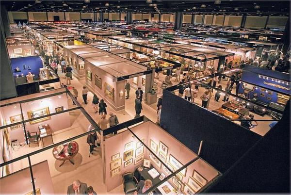 The booths of about 180 exhibitors at the Palm Beach Jewelry, Art & Antique Show.