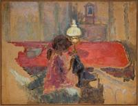 Pierre Bonnard, Woman with a Lamp, 1909, oil on paper, mounted on board, Dallas Museum of Art, gift of Ann Jacobus Folz, 2017.44.2
