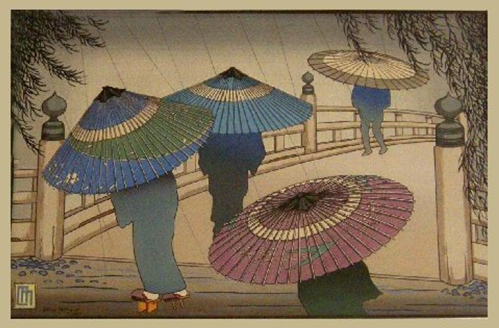 "Rare Lilian Miller woodblock print,"" Rain Blossoms"", 1928.  This stunning print is the artist's proof and comes with Miller's notations on the back.  The original presentation folder from her 1929-1930 exhibition was unfortunately too damaged to retain.  Framed in archival materials, the framed size is 17"" by 22""."