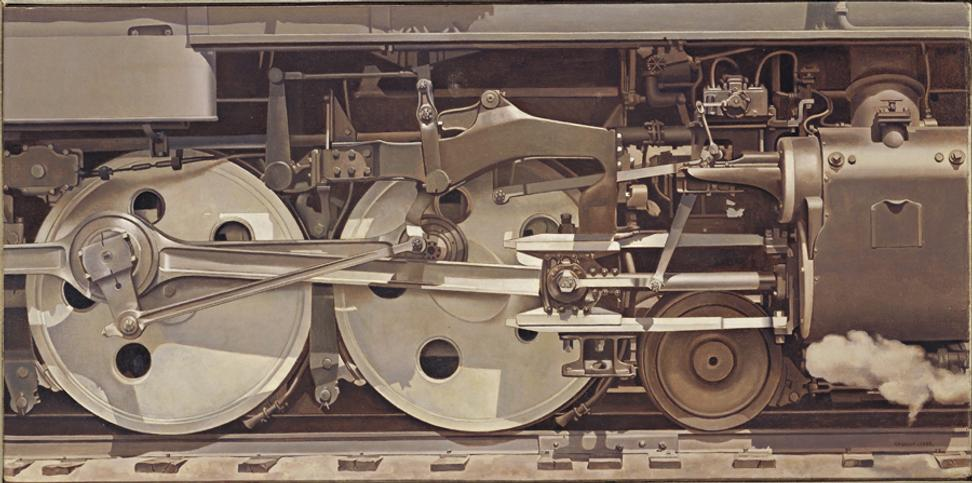 "Charles Sheeler, ""Rolling Power,"" 1939.  Oil on canvas, 15 x 30 in.  The Smith College Museum of Art, SC 1940:18"