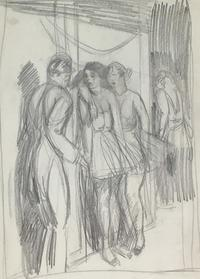 Guy Pène du Bois, Untitled (A casual conversation), ca.  1921.  graphite pencil on paper, 13 1/16 x 7 15/16 inches