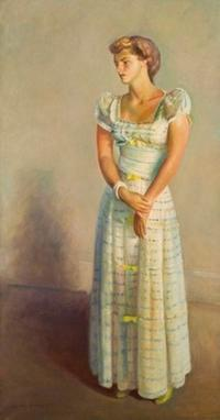 Guy Pène du Bois, Portrait of Patricia Pike in White Dress, 1941.  Oil on canvas; 74 1/2 x 40 inches; Signed and dated, l.l.