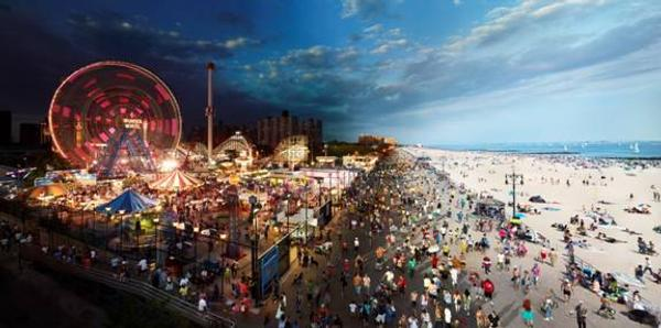Stephen Wilkes, Coney Island, Day To Night, 2011.  Digital C-print, 40 x 80 inches.