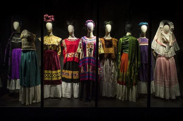 "Installation view, dresses in the Brooklyn Museum exhibition ""Frida Kahlo: Appearances Can Be Deceiving."""