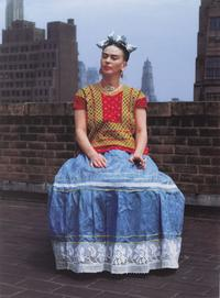 Frida in New York, 1946; printed 2006.  Carbon pigment print, image: 14 x 11 in.  (35.6 x 27.9 cm).  Brooklyn Museum; Emily Winthrop Miles Fund, 2010.80.  Nickolas Muray Photo Archives.