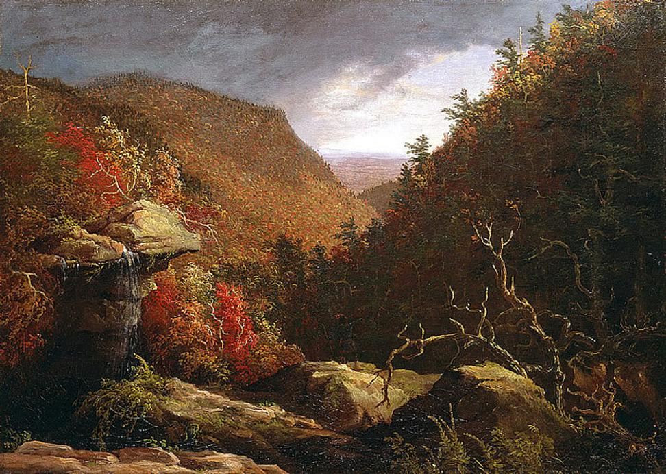 Thomas Cole, The Clove, Catskills, Oil on canvas, 1827, 25 ¼ x 35 1/8 in.  New Britain Museum of American Art.  Charles F.  Smith Fund, 1945.22.