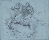Leonardo da Vinci, Recto: A study for an equestrian monument.  Verso: Studies of flowing water, a cross-bow, geometry, etc.  c.1485-90.