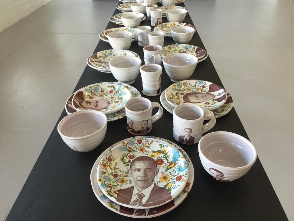 Justin Rothshank Barack Obama Tableware Set 2016 earthenware glaze ceramic decals 9  sc 1 st  Art Fix Daily & Ferrin Contemporary Presents Unique Ceramic Artwork: A Dinner ...