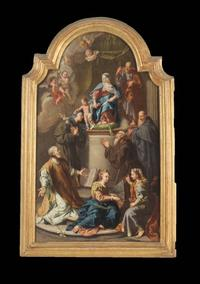 17th century oil on canvas painting by a follower of Giambattista Pittoni, titled Madonna and Child with Saints (est.  $4,000-$6,000).