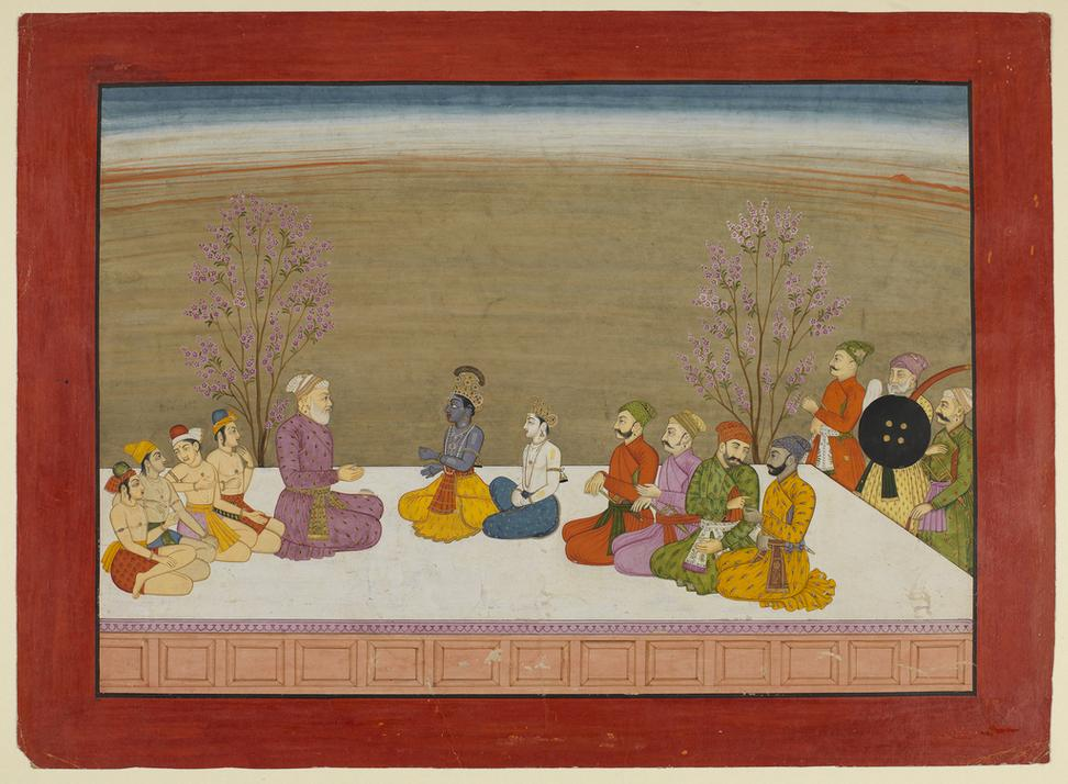 Krishna and Balarama conversing with Nanda on a Terrace, circa 1765.