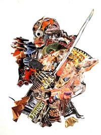 GLIL, Samurai 2, Collage & Mixed Media on Paper, 33.5'' x 23.5''