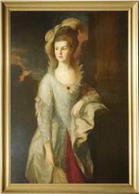 Study attributed to Thomas Gainsborough (1727-1788), for perhaps the renowned English painter's most intricate and recognizable composition – The Honourable Mrs.  Graham.