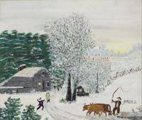 "Anna Mary Roberston (""Grandma"") Moses Here Comes Daddy, 1950 Oil on pressed wood, 8 x 9 3/8 Exhibitor: Galerie St.  Etienne"