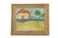 Emile Gaugin (French, 1899-1980) oil on canvas titled Hut with Palms (est.  $300-500).