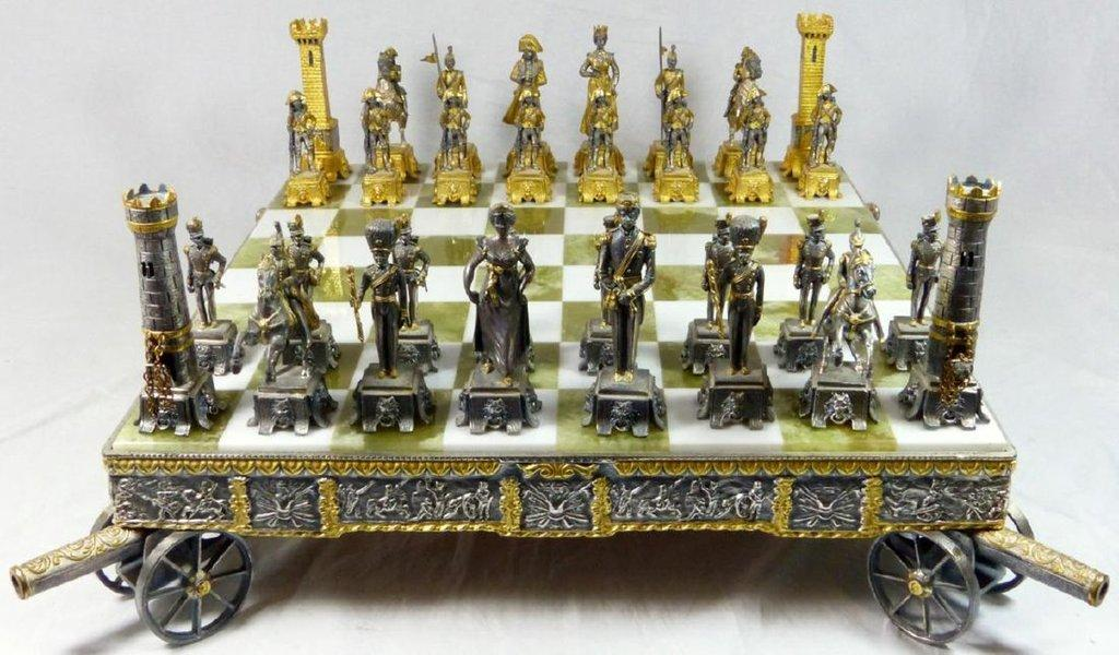 beautiful gilt metal chess set and board by giuseppe vasari it will be sold oct 28