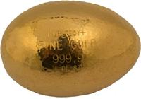 Spectacular solid gold goose egg, hand-hammered and beautifully crafted by Phoenix jeweler George Villa of Goldcraft Jewelers, Inc.  in 1982, weighing 12.02 troy ounces ($24,100).