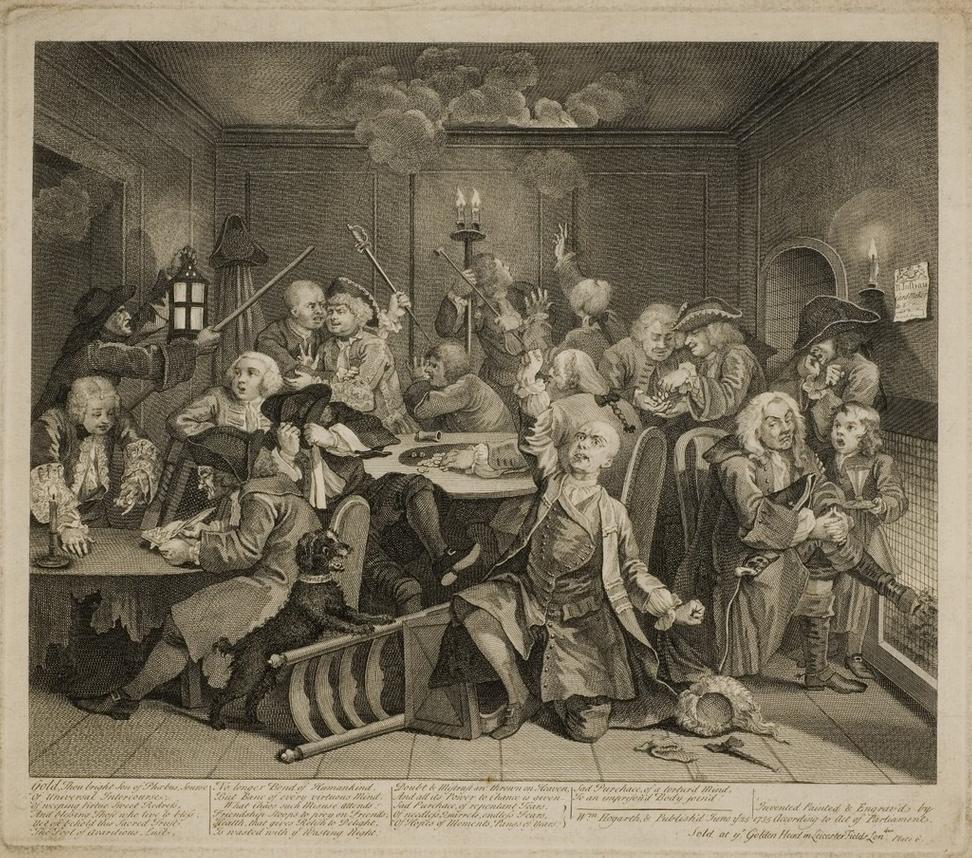 William Hogarth (English, 1697-1764).  The Rake's Ruin at the Gaming Table from A Rake's Progress, c.  1765.  Original copperplate engraving, 20 ¼ x 22 ¼ in.  Private collection