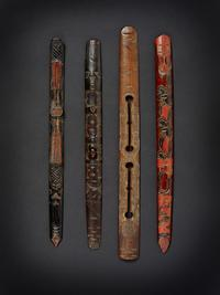 "Group of wooden ritual prayer sticks ikupasuy.  Late Edo/Meiji Period.  12 1/2"" x 1 1/8 """