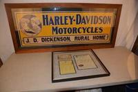 This 1916 Harley-Davidson single-sided cardboard sign in great condition fetched $8,800.