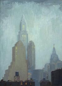 ALICE HIRSCH (1888‒1935) Chrysler Building, 1931 Oil on canvasboard 16 x 12 inches Signed lower right, titled and dated 1931