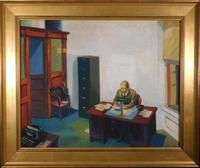 Oil on canvas painting by a follower of Edward Hopper (American, 1882-1967), titled Office at Night, artist signed and nicely housed in a 28 inch by 34 ¼ inch frame ($7,500).
