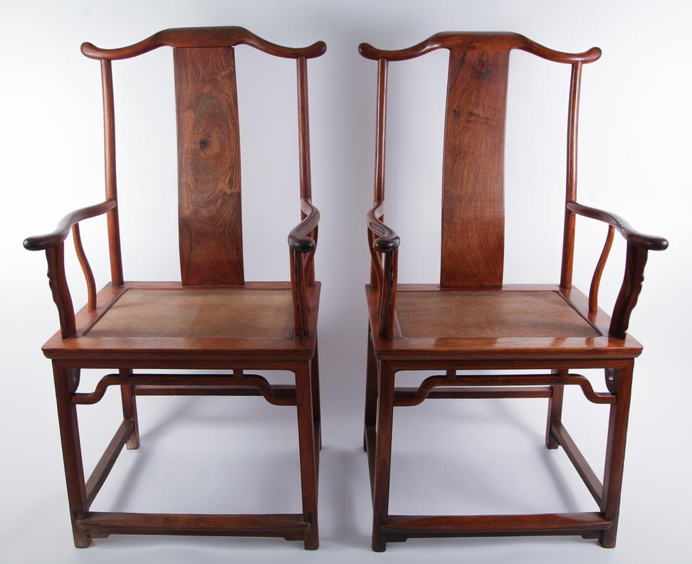 Pair Of Chinese Huanghuali Yokeback Armchairs, 17th Century