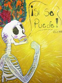Hugo Ximello-Salido, Si Se Puede, Acrylic & Ink on Canvas, 24'' x 18''