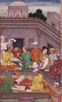 Bhisma and Yudhisthira Discuss the Issue of Trust Mughal, ca.  1598-1600