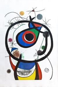 Joan Miro Galatee, 1976 Aquatint 38 x 54 inches Edition 24/50 Hand signed and numbered in pencil