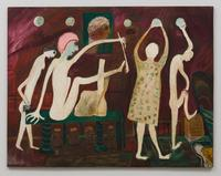 John Serl, Untitled (White Horned Creatures, Birds, Number Board), 1975, oil on board, 36 x 72""